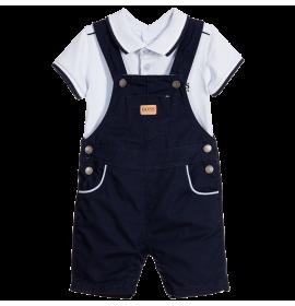 Baby Boys Blue Dungarees & Bodyvest Set