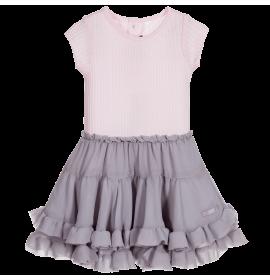 Pale Pink & Grey Cotton & Chiffon Dress