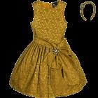 Burgundy Jacquard Dress & Hairband 2 Piece Set