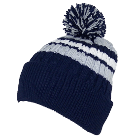 Cable Knit Cuffed Winter Hat W-Large Pom Pom