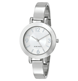 Silver-Tone Sunray Dial and Bangle Watch